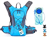youth hydration pack - WACOOL 2L Waterproof Hydration Bladder Pack, Cycling Backpack, Lightweight Daypack (Blue and 2L Bladder)