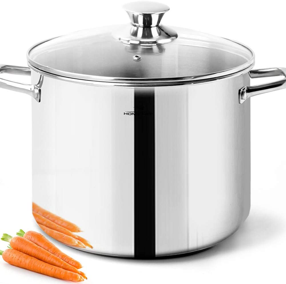 HOMICHEF Stock Pot 8 Quart with Lid Nickel Free Stainless Steel - Mirror Polished Stockpot 8 Quart with Lid - HEALTHY COOKWARE Stockpots 8 Quart - Soup Pot 8 Qt Cooking Pot Induction Pot With Lid