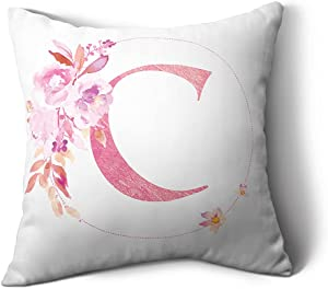 HHLOU Throw Pillow Covers Decorative English Letters Floral Pillowcases Cover White Pillow Protectors for Sofa Couch Bedroom Car and Home Decor (Letter C, 18