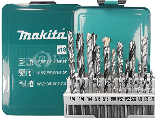 Makita 18 Piece - 3-In-1 Master Drill Bit Set For Drills - Precise Drilling For Masonry-Concrete, Wood & Metal - Tungsten Carbide, Brad Point & HSS Bits
