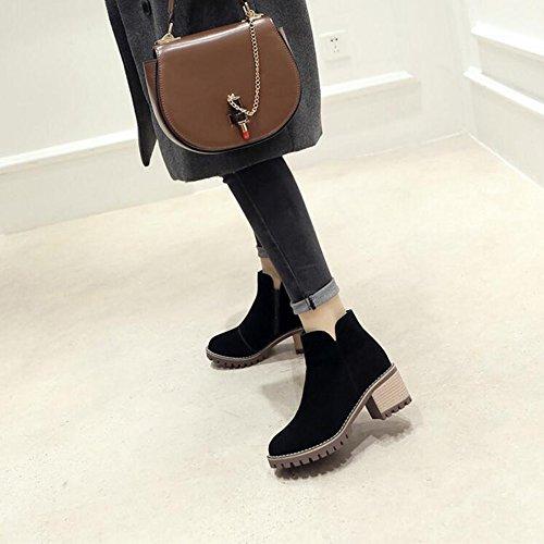 FUFU Damen Stiefel Reitstiefel Mode Stiefel Winter PU CDress Chunky Heel Schwarz / Nude color2.36in 6cm Schwarz