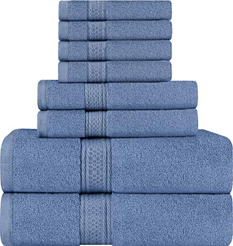 Utopia Towels 8 Piece Towel Set, Wedgewood, 2 Bath Towels, 2 Hand Towels, and 4 Washcloths