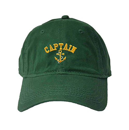 (Adjustable Dark Green Adult Captain with Anchor Embroidered Deluxe Dad Hat)