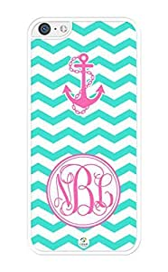 MMZ DIY PHONE CASEiZERCASE Monogram Personalized Turquoise Chevron Pattern with Anchor iphone 6 4.7 inch Case - Fits iphone 6 4.7 inch T-Mobile, AT&T, Sprint, Verizon and International (White)