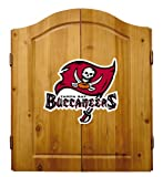 Imperial Officially Licensed NFL Dart Cabinet Set with Steel Tip Bristle Dartboard and Darts, Tampa Bay Buccaneers