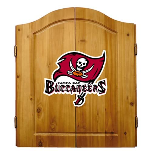 Image of Darts & Dartboards Imperial Officially Licensed NFL Dart Cabinet Set with Steel Tip Bristle Dartboard and Darts, Tampa Bay Buccaneers