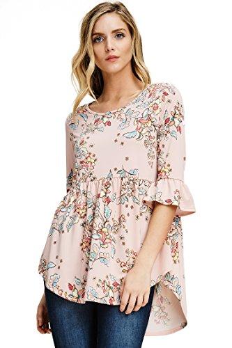 Empire Gathered Top Shirt - Annabelle Women's Floral Print Below Waist Length Curve Hem Gathered Waist Bell Sleeve Top Peach Small T1370