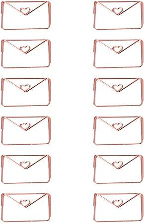 Fablcrew Lot de 12 Trombones Fantaisie M/étal en Forme de Enveloppe Pinces Papier Clips Pour Fournitures Scolaires de Bureau
