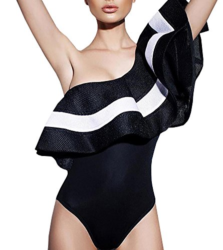 Gobought Women's Stripe One Shoulder Ruffle Bikini Sets Hiagh Waist Swimsuit Tankini (Large, Black One Piece)