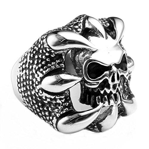 Zysta-Bijoux-Bague-Crne-Diable-Acier-Inoxydable-Anneaux-Fantaisie-pour-Homme-et-Femme-Couleur-Noir-Argent-Gothique-Punk-Rock-Motard-Biker-5