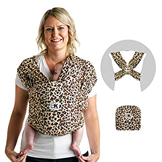 Baby K'tan Print Baby Wrap Carrier, Infant and Child Sling - Simple PreWrapped Holder for Babywearing - No Tying or Rings - Carry Newborn up to 35 lbs, Leopard Love, M (W Dress 10-14 / M Jacket 39-42)