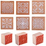 Lavenz 12 pieces/lot Vintage Flower Lace Wooden Rubber Stamp Seal Square Diary Scrapbook Making Stamper DIY Paper Craft Art