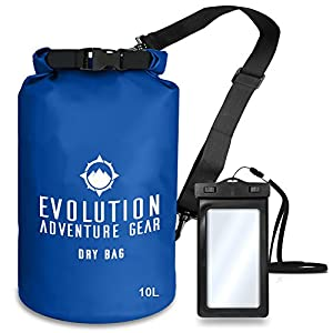 EVOLUTION Floating Waterproof Dry Bag – Professional Adventure Gear - Roll Top Compression Sack for Kayaking, Boating, Hiking, Fishing, Camping and Outdoor Travel – Waterproof Phone Case – 10L Blue