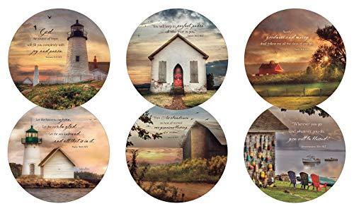 Legacy Publishing Group RCC50788 Lori Deiter Round Cork-Backed Coaster Set Set Of 6 Golden Lighthouse ()