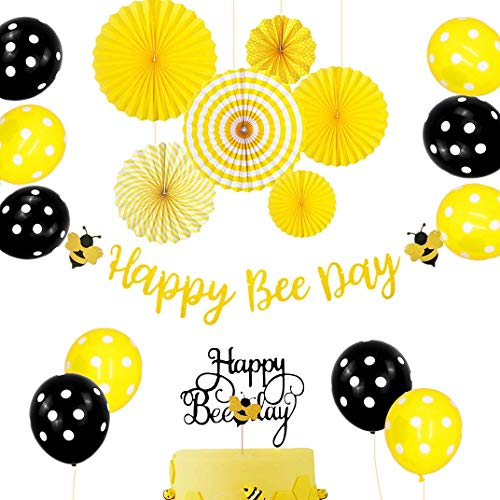 Set of 18 JeVenis Happy Bee Day Banner Happy Bee Day Cake Topper Bumble Bee Baby Shower Decoration Bumble Bee Balloons for Baby Shower 1st Birthday Bumble Bee Decor Bee - 1 Bee Bumble