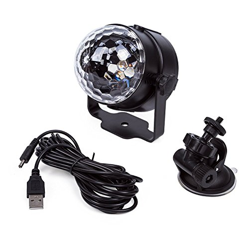 ELEOPTION Mini Stage LED Light 3W RGB Crystal Magic Ball LED Lamp 7 Colors Rotating Outdoor Car Stage DJ Disco Light USB Rechargeable Self-Propelled & Sound Activated Colorful Light by Eleoption (Image #5)'