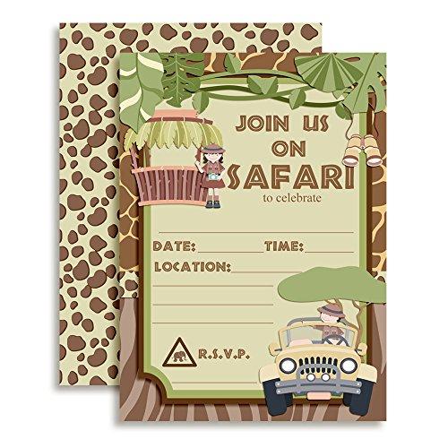 (Amanda Creation Jungle Safari Birthday Party Fill in Invitations Set of 20 with)