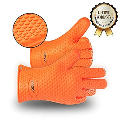 BBQ Gloves Silicone Heat Resistant BBQ Grill Gloves Great for Barbeque, Oven, Cooking, Frying, Baking, Smoking, Potholder, FDA Approved and BPA Free (Tong included) by Anear