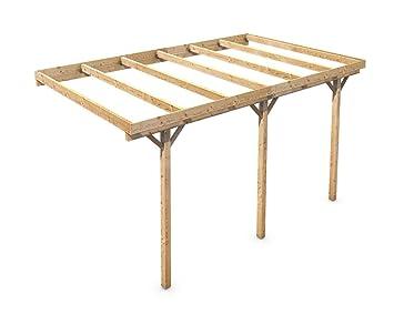 Holz Carport Flachdach Massivholz KVH für Wandanbau 3000x5000 mm ...