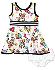 Minnie Mouse Winnie The Pooh Girls Toddler Baby Fit and Flare Ultra Soft Dress