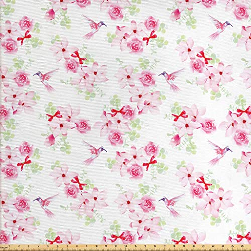 Lunarable Hummingbirds Fabric by The Yard, Hummingbirds and Bouquets with Magnolias Roses Pattern Floral Print, Decorative Fabric for Upholstery and Home Accents, 1 Yard, Pink Red Pale Green
