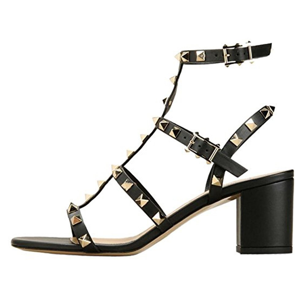 3 Black-leather Comfity Sandals for Women,Rivets Studded Strappy Block Heels Slingback Gladiator shoes Cut Out Dress Sandals