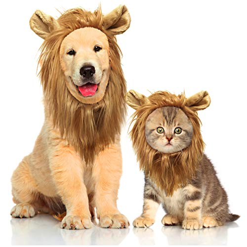 Joy4Pets 2 in 1 Pack - Dog & Cat Lion Manes - Premium Quality Lion Mane, Dog & Cat Costume with Ears - Comfortable Lion Wig for Dogs, Cats and Puppies - Perfect Dog & Cat Gift -
