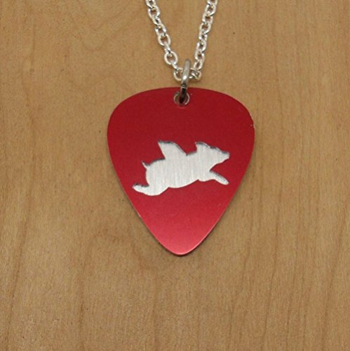 Silver Toned Flying Pig Pendant Necklace Jewelry or Key Ring Made From Guitar Picks (Overlay Ham)