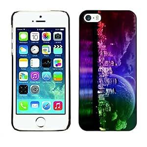 PC/Aluminum Funda Carcasa protectora para Apple Iphone 5 / 5S Sci Fi Space Neon Planet / JUSTGO PHONE PROTECTOR