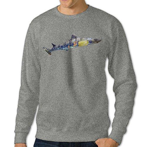AcFun Men's Custom Nature Spirit Series Shark Crewneck Sweater Size XL Ash ()