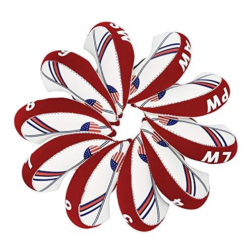 (Sunbro Golf 10Pcs USA Flag Neoprene Golf Club Head Cover Wedge Iron Protective Headcover (Red USA))