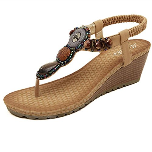 Price comparison product image Vintage Sandals,Clearance! AgrinTol Summer Fashion Vintage Beads Sandals Beach (5.5, Khaki)