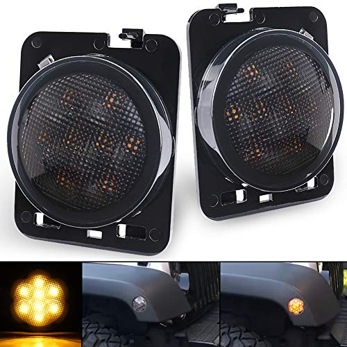 (SEUYA LED Fender Side Light LED Side Maker Lights with Smoked Lens Amber LED for 2007-2017 Jeep Wrangler JK Unlimited 1 Pair )