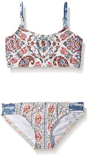 Billabong Big Girls' LIL Bliss Crop Tankini Two Piece Swimsuit Set, Multi, 14