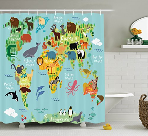 Wanderlust Shower Curtain Decor by Ambesonne, Animal Map of the World for Children and Kids Cartoon Mountains Forests Image, Polyester Fabric Bathroom Shower Curtain Set with Hooks, Green Yellow Blue (Animals Of The World Map)