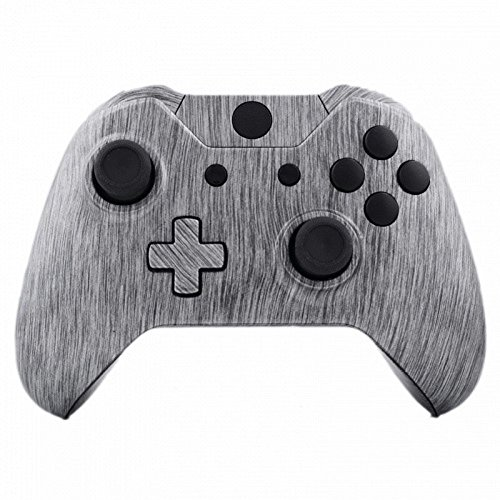 Mod Freakz Shell/Button Kit Hydro Dipped Collection - Brushed Silver Metal Black (NOT A CONTROLLER, For Xbox One Gen 1 Controllers ONLY - No Headphone Jack)