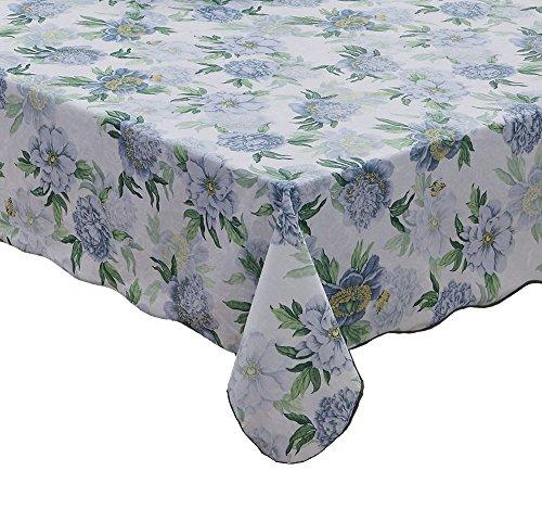 Artisan Flair AF5472-044B Engineered Bule Flower Vinyl Tablecloth Flannel Backed Oblong(rectangle)-54