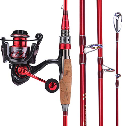 (Sougayilang Fishing Rod and Reel Combos, Lightweight Carbon Fiber Fishing Pole and13+1BB Corrosion Resistant Bearings Fishing Reel for Travel 4-Piece Salt Fresh)