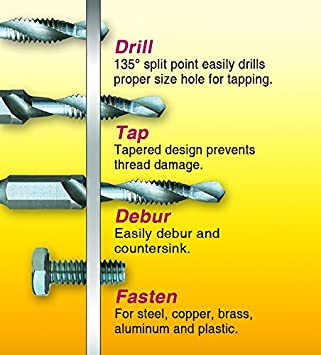 1//Card IVY Classic 06009 3//8-Inch-16NC Combo Drill//Tap Bit M2 High Speed Steel