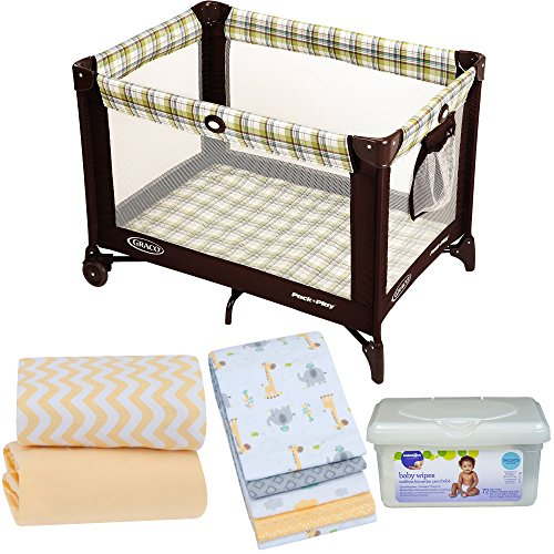 Gracô Pack n Play Playard for Babies with 2-Pack Sheets, 4-Pack Receiving Blankets and Baby Wipes - - Town Charleston Center