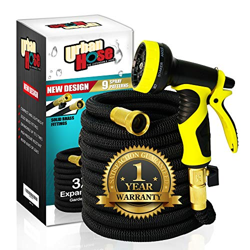 Expandable Garden Hose -50ft Flexible, No Kink & Tangle Free, Heavy Duty Water Hose, Solid Brass Fitting Extra Strong Fabric, Portable Lightweight Collapsible –9 Pattern Spray Nozzle Bonus Storage B