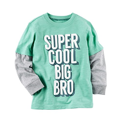 Carters Toddler Clothing Outfit Boys Long-Sleeve Layered-Look Cool Big Bro Graphic Tee, Green, 4T