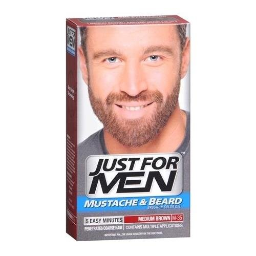 JUST FOR MEN Mustache & Beard Color Gel M-35 Medium Brown 1 EA - Buy Packs and SAVE (Pack of 3)