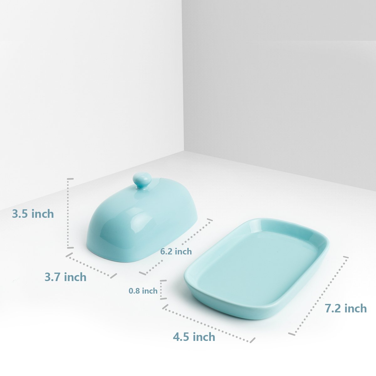 Sweese 3165 Porcelain Cute Butter Dish with Lid, Perfect for East/West Butter, Turquoise by Sweese (Image #3)