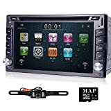 2 Din Car Stereo In-Dash Head Unit Deck GPS Navigation Steering Wheel Control 6.2-inch HD Touchscreen DVD CD Player Bluetooth FM AM Radio Rearview Camera