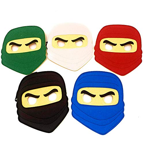 Kool KiDz 10 Ninja Masks for Birthdays, Halloween Costumes, Party Supplies, Games and More - Comfortable, One-Size-Fits-Most Design - Premium Quality Eco-Felt and Fleece (Dress Up Games For 12 Year Olds)