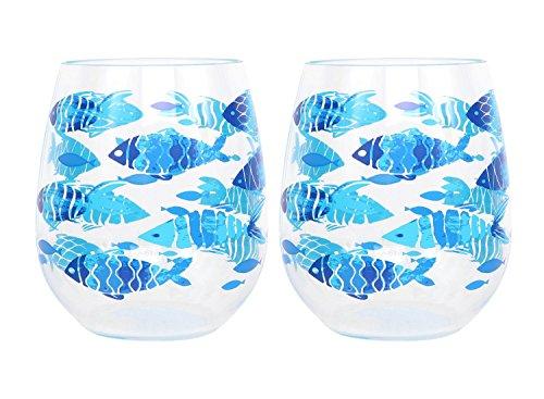 Fish Pattern Stemless Wine Glass, Set of 2