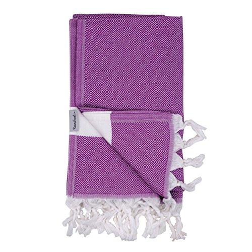 The Riviera Towel Cotton Diamond Print Turkish Towel, Purple