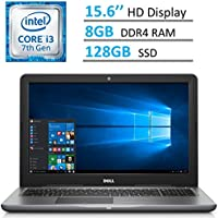 Newest Dell Inspiron 15.6'' HD (1366 x 768) LED-Backlit Laptop PC | Intel i3-7100u 2.4 GHz | 8GB DDR4 RAM | 128GB SSD | HDMI | Bluetooth | MaxxAudio | Intel HD Graphics 620 | Windows 10 | GRAY