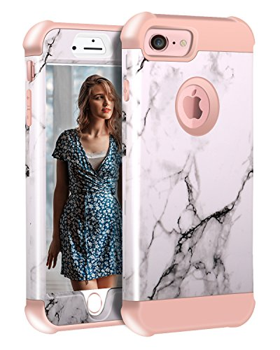 Tri Orchid (iPhone 8 Case, Cute iPhone 7 Marble Case for Women, ZAOX Shockproof Full Body Protective Cover Tri-Layer Slim Soft Flexible Silicone and Hard PC for Apple iPhone 7/8 (White/Rose Gold))